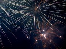 New Year star. Fireworks New Year 2014 with a show in Cenrtum entertainment and shopping Manufacturing Boat Stock Image