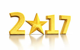 New Year 2017 and star gold Stock Images