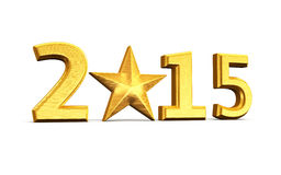 New Year 2015. And star gold render (isolated on white and clipping path Stock Photography