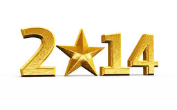 New Year 2014. And star gold render on white and clipping path Stock Illustration