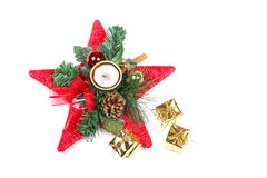 New year star and present boxes. Closeup on white Stock Photos