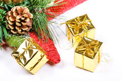 New year star and present boxes Royalty Free Stock Photography