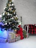 New Year stars. Christmas decor decoration tree toys bag bench wall design box present santa claus garland winter snow Royalty Free Stock Photos