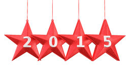 New Year 2015. And stars shape render (isolated on white and clipping path Stock Photography