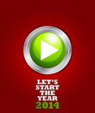 New year 2014 start button. Abstract background Royalty Free Stock Images