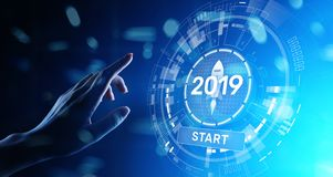 New year 2019 start button on virtual screen hologram. FInancial growth and new perspective in business and life. stock images
