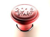 New Year 2018 Start pushbutton Stock Image