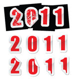 New year sticker. 2011 sticker, in with peeling corner effect Stock Photos