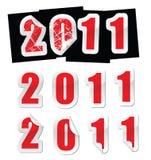 New year sticker. 2011 sticker, in with peeling corner effect vector illustration
