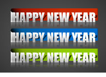 New year sticker. With black background, vector illustration Stock Photo