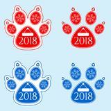 New Year Sticker of Dog Paw Stock Images