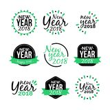 New Year 2018 Sticker Icon Set. Full Royalty Free Stock Photos