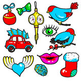 New Year stickers, pins, patches in cartoon 80s-90s comic style Stock Images
