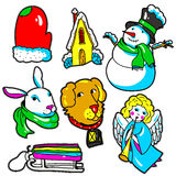 New Year stickers, pins, patches in cartoon 80s-90s comic style Royalty Free Stock Images