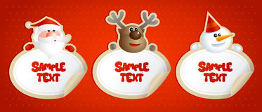 New year stickers with Santa, deer and snowman. Stock Image