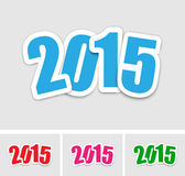 New year 2015 stickers. In various colors Royalty Free Illustration