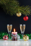 New Year still life. Against the black background Stock Photos