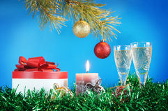 New Year still life. Against the blue background Royalty Free Stock Photo