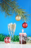 New Year still life. Against the blue background Royalty Free Stock Photos