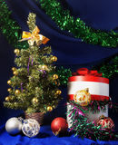 New Year still life. With decorative fur tree Stock Photos