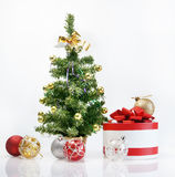 New Year still life. With decorative fur tree Royalty Free Stock Images