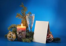 New Year still life with a blank postcard Stock Photo