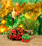 New Year still life with conifer Royalty Free Stock Photography
