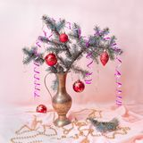 New Year still life. Fir tree branch on pink background. Artistic blur stock images