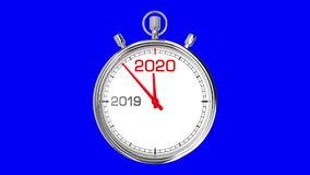 New Year 2020 Stopwatch Blue Screen. Countdown from year 2019 to 2020. Clean mask on blue screen vector illustration