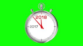 New Year 2018 Stopwatch Green Screen. Stopwatch countdown from year 2017 to 2018. Clean mask on green screen royalty free illustration
