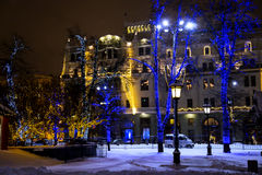 New Year street decor in Moscow by night Royalty Free Stock Photography