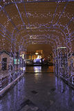 New Year street decor by night Moscow Royalty Free Stock Images