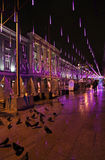 New Year street decor by night Moscow Royalty Free Stock Photography