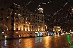 New Year street decor by night Moscow Royalty Free Stock Photo