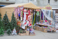 New year street market. House decoration sale. New year street market in Krasnodar, where you can buy different decorations for new year and Christmas party Stock Photo