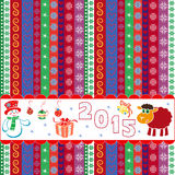 New Year 2015 striped greeting card. New Year 2015 vector composition with sheep and snowman on horizontal banner over ornamental striped background royalty free illustration