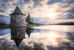 New Year sun. Over the river at the the Pskov fortress Stock Photography