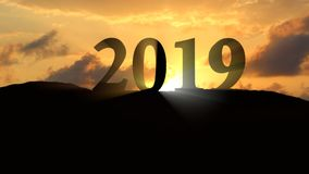 New Year 2019 Sunset. New year 2019 Silhouette on sunset landscape Royalty Free Stock Images