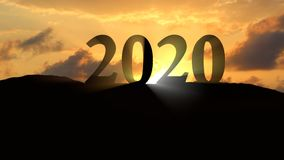 New year 2020 sunset. New year 2020 Silhouette sunset landscape Stock Images