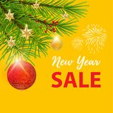 New year super sale banner with yellow background.  royalty free illustration