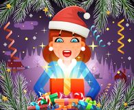 New Year Surprised Cute Girl Hold Light Gift Box Hands Christmas Night Winter Symbol Icon Confetti Ribbons Greeting Card Royalty Free Stock Images
