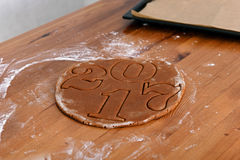 New year 2017, sweet gingerbreads from test Royalty Free Stock Photography