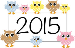 New year 2015 sweet owls Royalty Free Stock Image