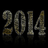 New 2014 year symbol on black backround. Christmas greeting card Stock Photo