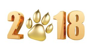 New Year 2018 with Symbol Dog Foot Print in 3D Style Glitter Glowing Text - Illustration Vector.  Stock Photography