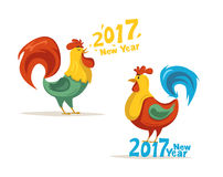 New Year symbol. Fire Rooster. Cartoon vector illustration. Chinese New Year 2017 symbol. Fire Rooster. Cartoon vector illustration. Stylized cock. Greeting card Stock Images
