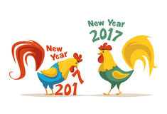 New Year symbol. Fire Rooster. Cartoon vector illustration. Chinese New Year 2017 symbol. Fire Rooster. Cartoon vector illustration. Stylized cock. Greeting card Stock Image
