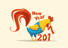 New Year symbol. Fire Rooster. Cartoon vector illustration. Chinese New Year 2017 symbol. Fire Rooster. Cartoon vector illustration. Stylized cock. Greeting card Royalty Free Stock Photography