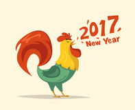 New Year symbol. Fire Rooster. Cartoon vector illustration. Chinese New Year 2017 symbol. Fire Rooster. Cartoon vector illustration. Stylized cock. Greeting card Stock Photo