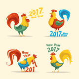 New Year symbol. Fire Rooster. Cartoon vector illustration. Chinese New Year 2017 symbol. Fire Rooster. Cartoon vector illustration. Stylized cock. Greeting card Royalty Free Stock Photos